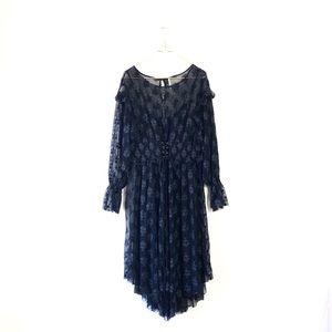 FREE PEOPLE midi mesh long sleeve floral dress lg